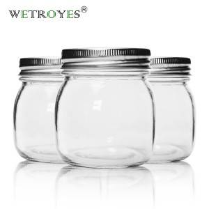 Food Grade 300ml Clear Round Glass Jar with Metal Lids for Food Storage