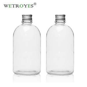 12oz Round Glass Milk Bottle with Aluminum Cap