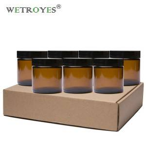 4oz Cosmetic Packing Amber Glass Jar for Cream with Black Plastic Lid