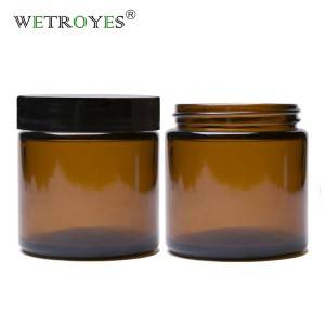 High Quality 4oz 120ml Amber Round Cosmetic Cream Jar Glass Candle Jar with Lid