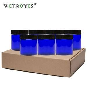4 oz 120 ml Empty Round Blue Cream Glass Jar for Cream Candle with Black Plastic Lids