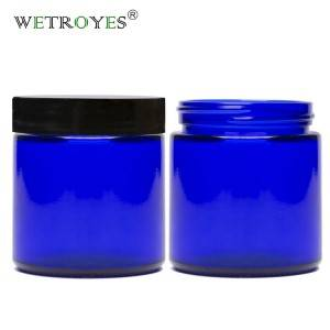 Cobalt Blue 4oz 120ml Glass Cream Jar with Black Plastic Airtight Lid