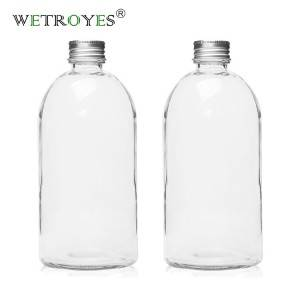 16oz 500ml Round Glass Milk Bottle with Aluminum Cap
