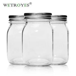 Wholesale 16oz 500ml Glass Mason Jar with Metal Lids