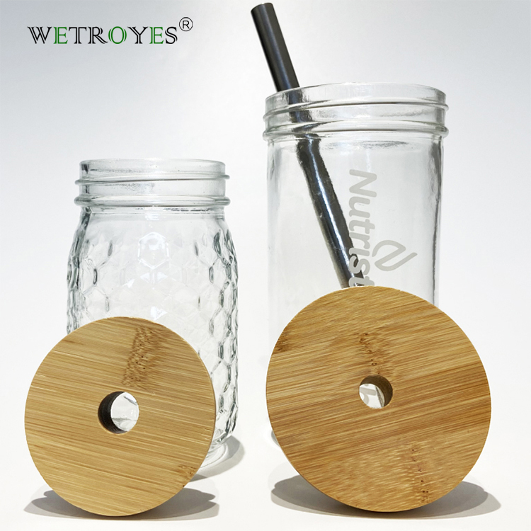 86mm Mason Jar Bamboo Lids with 15mm Boba Straw Hole Featured Image