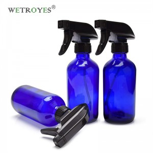8oz 240ml Cobalt Blue Glass Spray Bottle with Black Trigger Sprayer