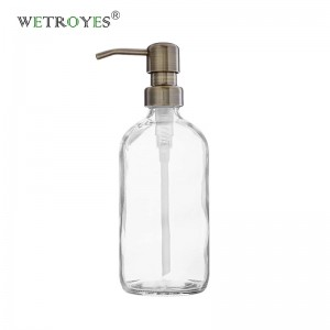 240ml 8oz Clear Glass Hand Soap Bottle with SS Pump