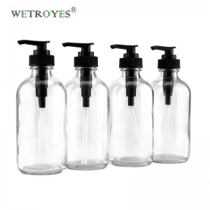 8 Ounce Clear Glass Pump Bottles Soap Dispensers