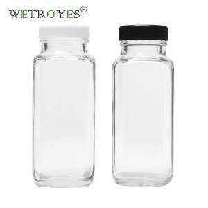 8 oz 240 ml French Square Milk Glass Bottle with PP Lid