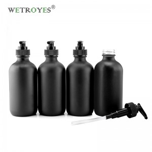 8oz Matt Black Boston Glass Bottle for Lotion Soap Shampoo