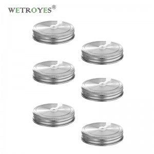 Rustproof 304 Stainless Steel Mason Jar Lids with Straw Hole