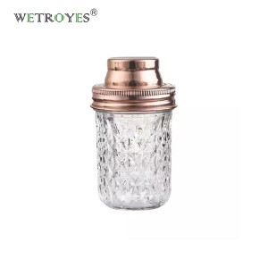 8 oz Crystal Glass Mason Jar with 70mm Gold Cocktail Shaker Lid