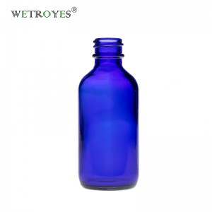 2oz 60ml Cobalt Blue Boston Round Glass Bottle