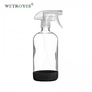 16oz Empty Clear Boston Round Glass Sprayer Bottle with Silicone Sleeve