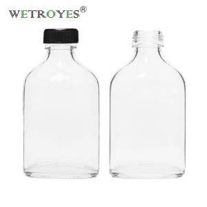 200ml Flask Glass Liquor Bottles with PP Caps