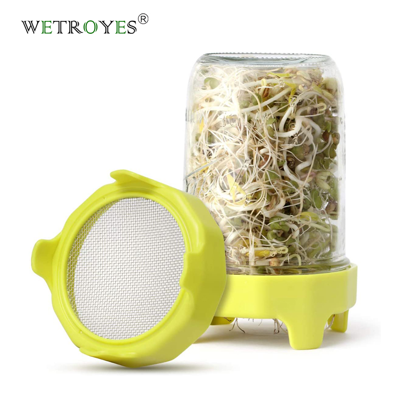 86mm SS Mesh ABS Band Sprouting Lid for Wide Mouth Mason Jar Featured Image