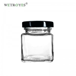 Small 50ml Square Glass Jar for Honey Jam Sauce Canning