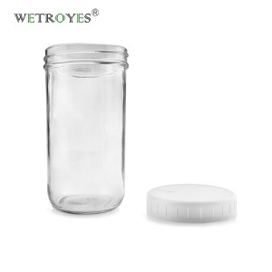 20oz Wide Mouth Glass Mason Jar for Boba Tea Juice with PP Cap
