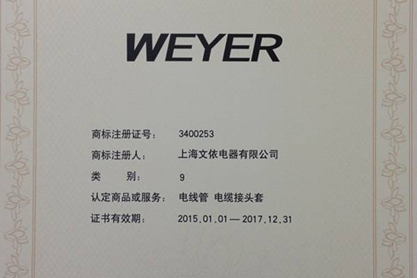 Weyer was awarded the reputation of Shanghai famous trademark