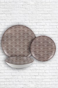 Best quality Handmade Dinnerware Set - Brown wave pattern padprinting plate – WELLWARES