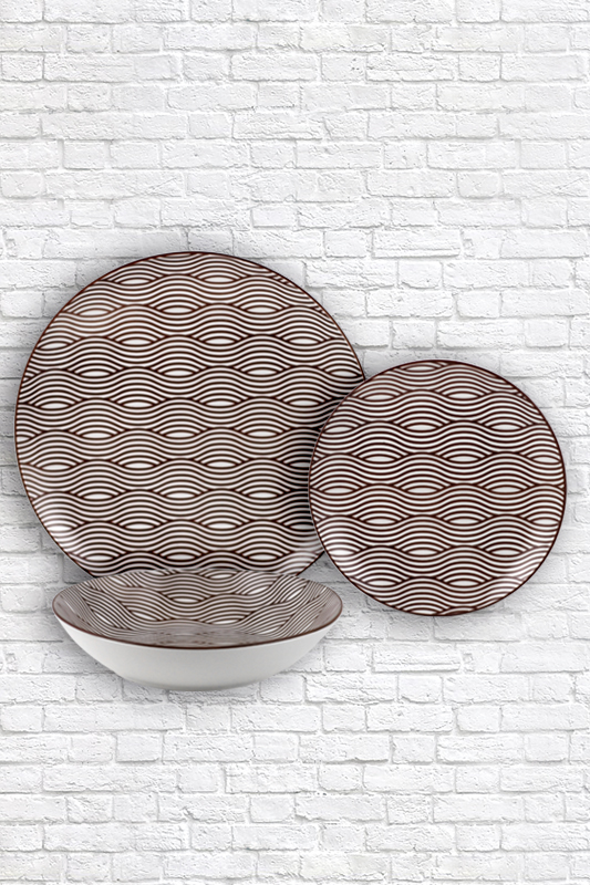Cheapest Price Porcelain Speckle Glaze - Brown wave pattern padprinting plate – WELLWARES