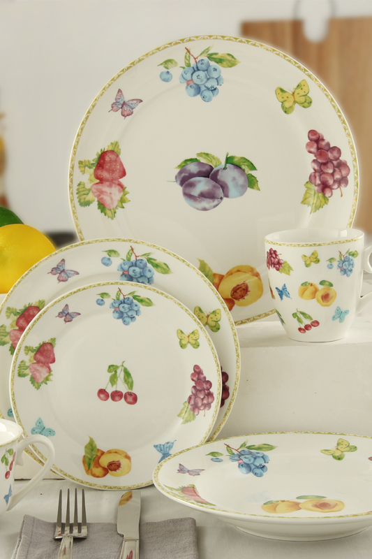 Manufacturing Companies for Earthen Dinner Set - Fruit pattern deacl white porcelain tableware – WELLWARES