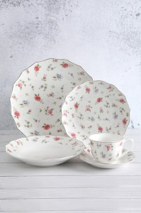 Rose pattern lotus decal white porcelain tableware set