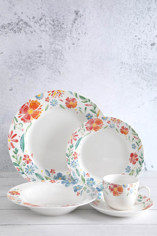 Bottom price Pottery Dishware - 20-piece decal in glaze porcelain set – WELLWARES