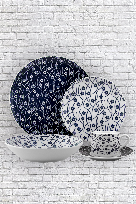 High reputation White Porcelain Dinnerware - Japanese style flower pattern ceramic set – WELLWARES detail pictures