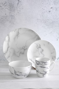 2020 High quality Ceramic Plates And Bowls - Marble Pattern Ceramic Tableware – WELLWARES