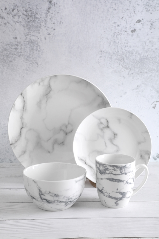 Factory selling White Pottery Dinnerware - Marble Pattern Ceramic Tableware – WELLWARES