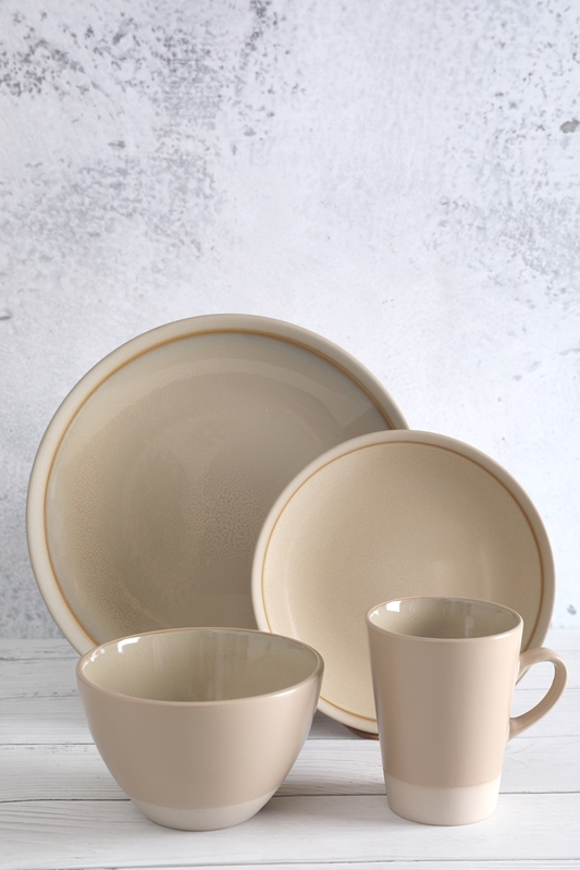 Discountable price Modern Bone China - Flamed Stoneware Dinner Set with reactive glaze – WELLWARES detail pictures