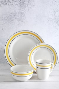 Factory source White Bone China Pasta Bowls - High quality white porcelain hand-painted line tableware – WELLWARES