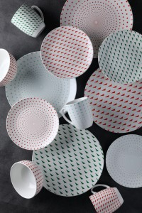 Pad printing ceramics tableware set