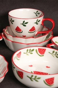 Good quality Christmas Plates Ceramic - New bone china watermelon hand-painted tableware – WELLWARES