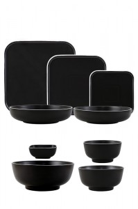 Chinese wholesale Crockery Dinner Set - Mix And Match Black Stand-Edge Design Stoneware Tableware  – WELLWARES