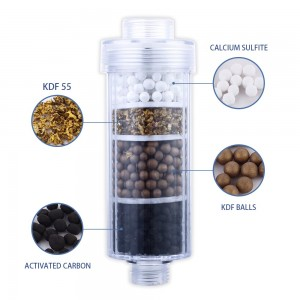 New Design Activated Carbon KDF Shower Filter, Multi-Stage Replaceable Chlorine