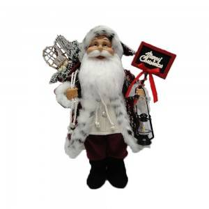 40 CM Standing Fabric cloth Christmas Santa Claus figurines with Led Lamp, plastic Christmas toys with mistletoe bag