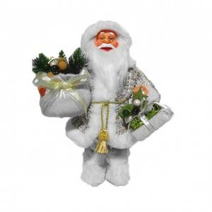 OEM Xmas indoor decor White 30 cm plastic Christmas Standing Santa Claus figurine with Jumper Sack and gift bag