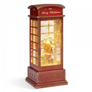Melody Telephone Booth Santa Led Glittering Water Spinning snow globe Christmas decoration