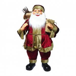 Customized Noel 80 cm big plastic Standing Santa Claus Christmas decoration with Sack