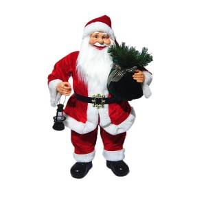 Noel Led light indoor Christmas decor 60 cm Plastic Standing Santa Claus in Fabric Cloth