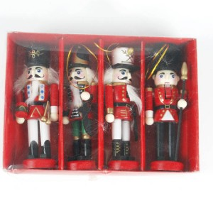Custom Set of 4 Wholesale Christmas nutcracker wood hanging ornament