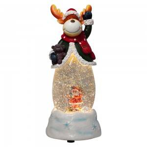 Customized noel BO water spinning Reindeer musical led Christmas snow globe with Xmas Santa scene