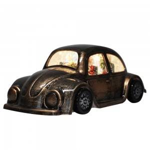 Hot sell new bronze Plastic vintage car Xmas Santa Scene musical led water spinning Christmas snow globe