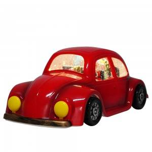 Seasonal new Red Plastic vintage car Xmas Santa Scene musical led water spinning Christmas snow globe