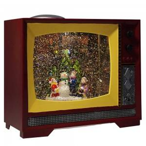 Customized indoor decor Xmas snowman tree scene water spinning tabletop BO Retro TV musical led snow globe