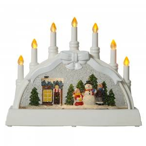 Xmas snowman village scene noel musical led illuminated water spinning Candle holder Christmas snow globe