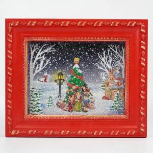 Hot sell new noel carollers Xmas tree village scene Photo frame water spinning musical led Christmas snow globe