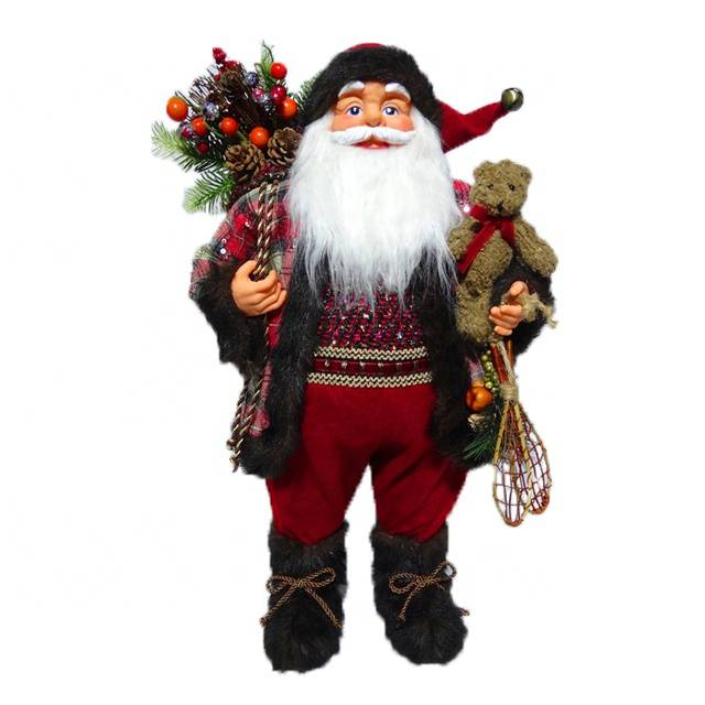 Traditional Xmas decor European Style Chinese Supplier 60 cm fabric Standing Christmas father with mistletoe bag
